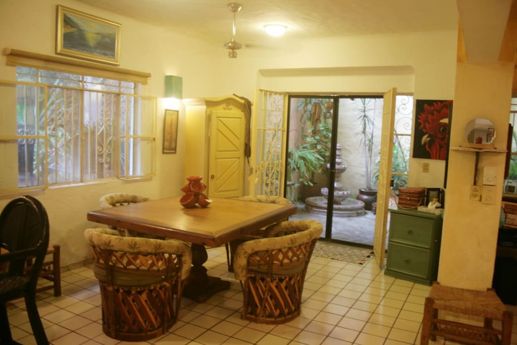 Dining area with view of outside patio garden