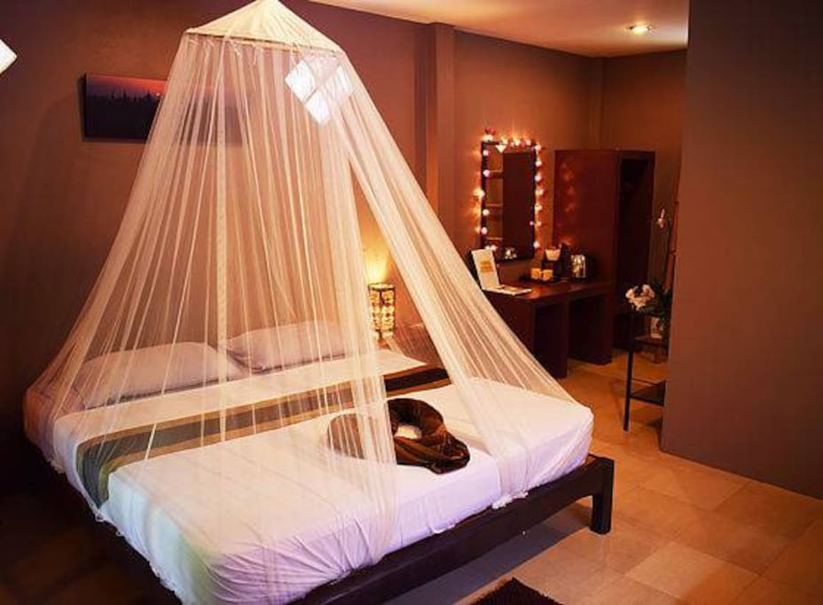 All our beds are king size and nicely wrapped in a mosquito net