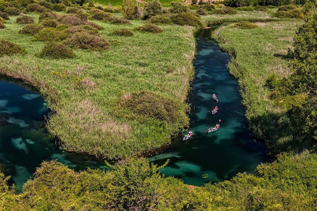 Tirino River with canoe