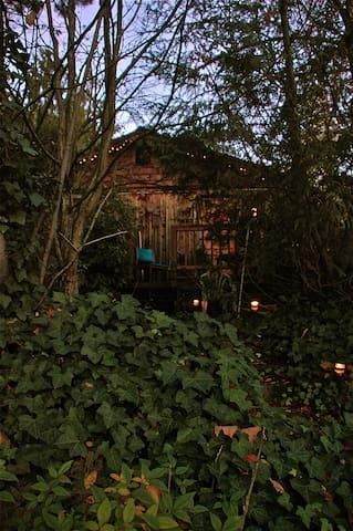 garden lights illuminate stairs to deck & entrance