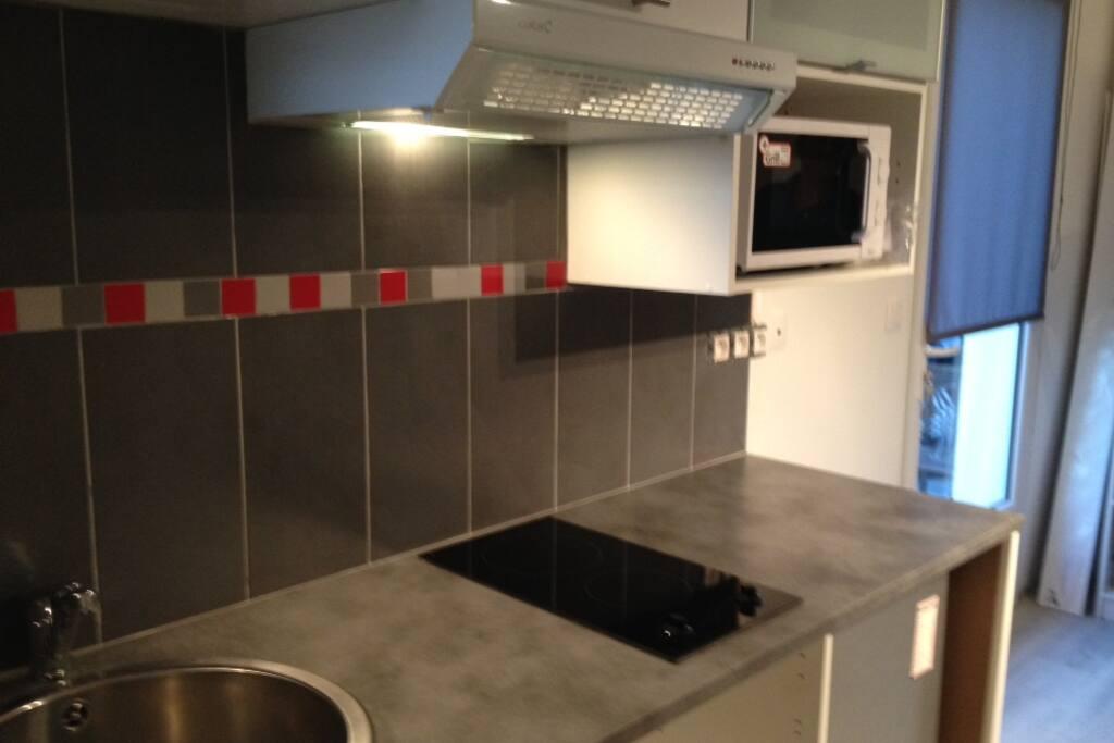 Cuisine équipée: évier, plaque, hotte, frigo, batterie de cuisine, micro-onde.