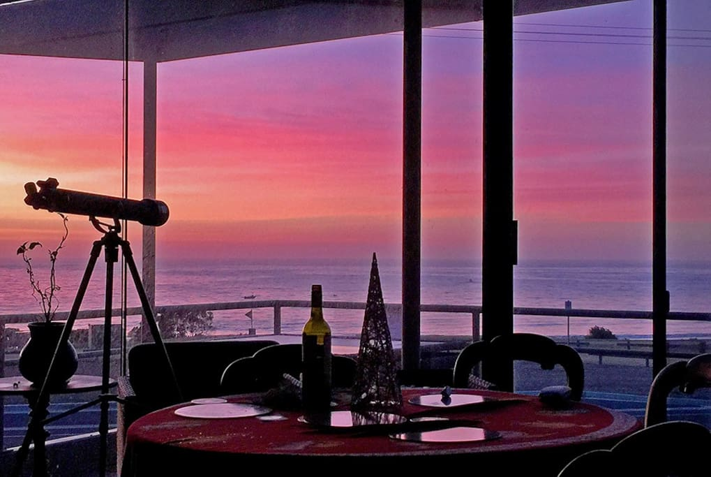 Balcony dining and entertainment  lounge have spectacular sunset views