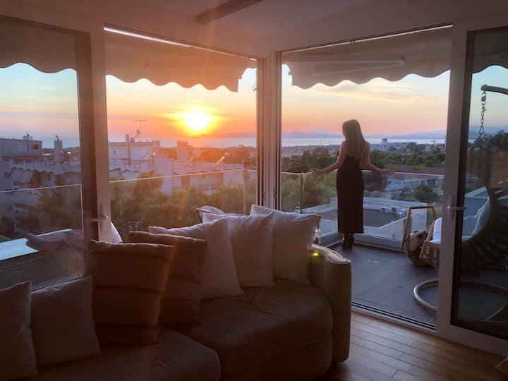 Ultra luxurious modern loft Sunset view