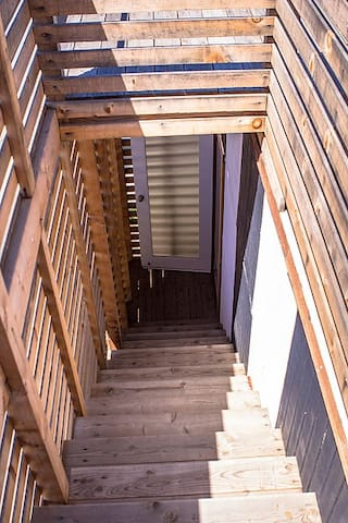 staircase to rooftop deck