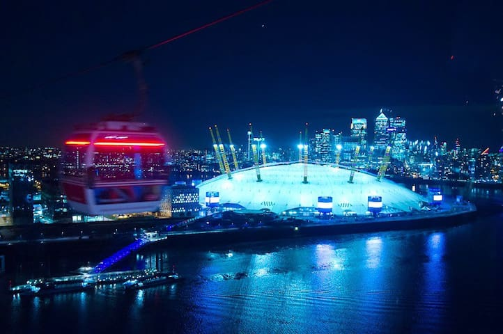 Experience the spectacular Emirates Airline cable car ride to the O2 Arena..30 seconds walk away from the residence