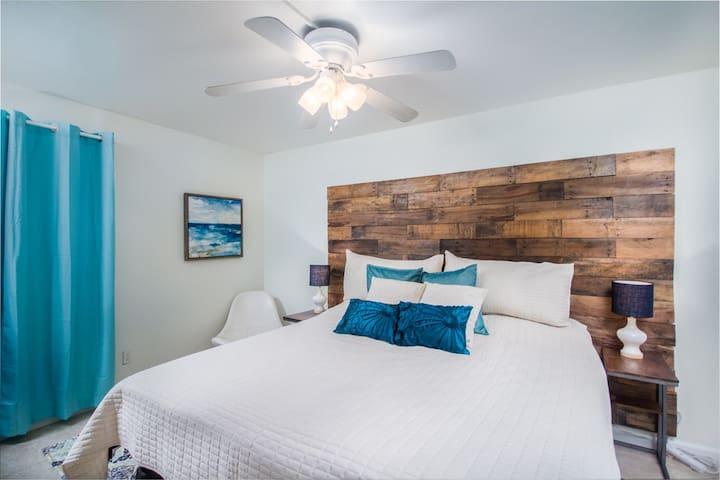 Comfy, cozy bedroom.