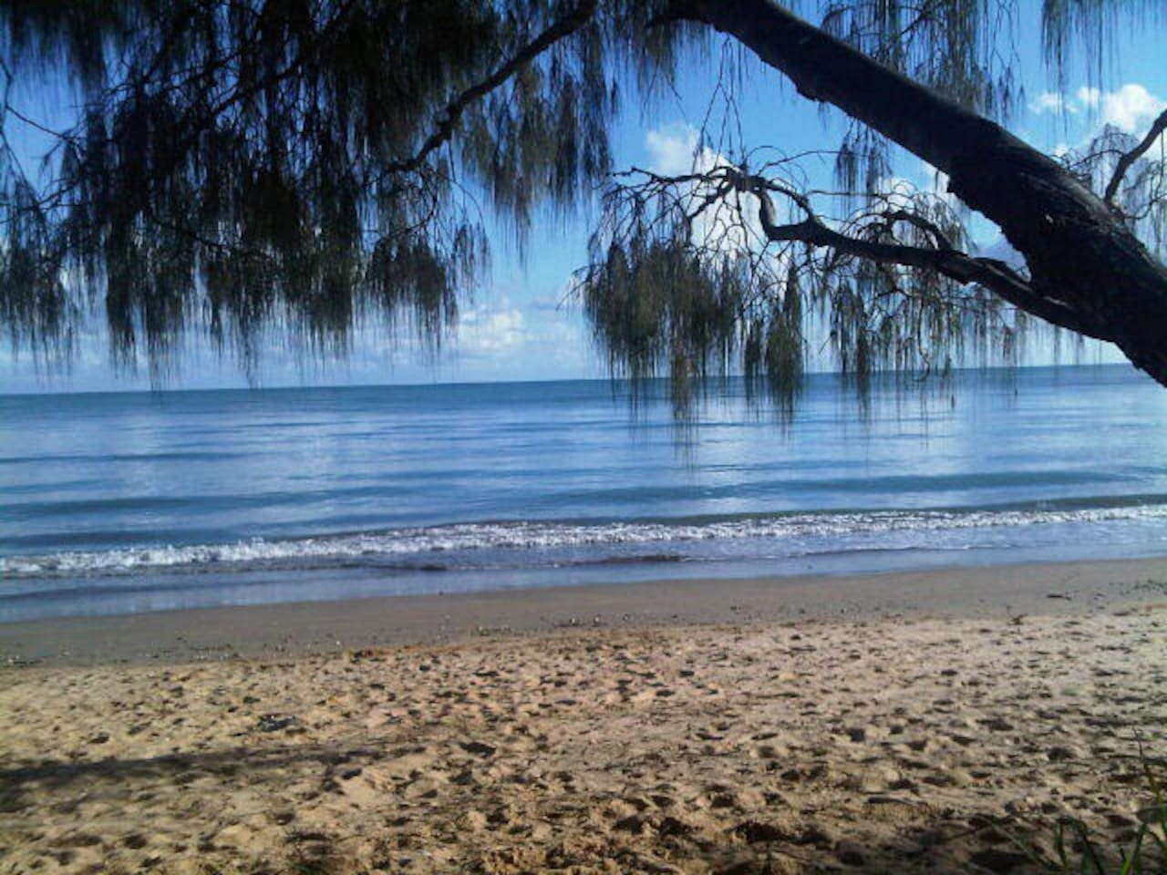 Our beach on a beautiful still morning at high tide.