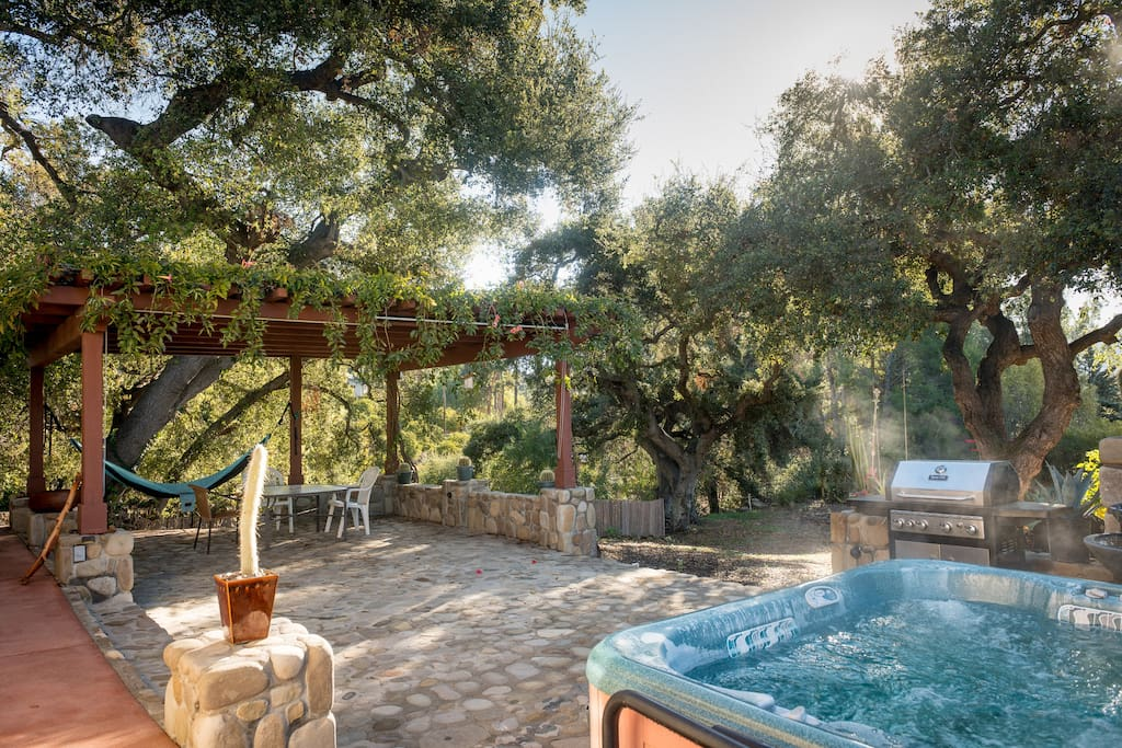 The stunning patio with gas and charcoal grills, hot tub and dining area.
