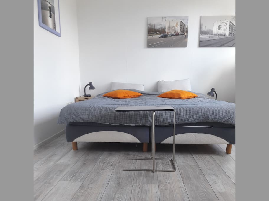 Master bedroom: new boxspring, new beds, new floor