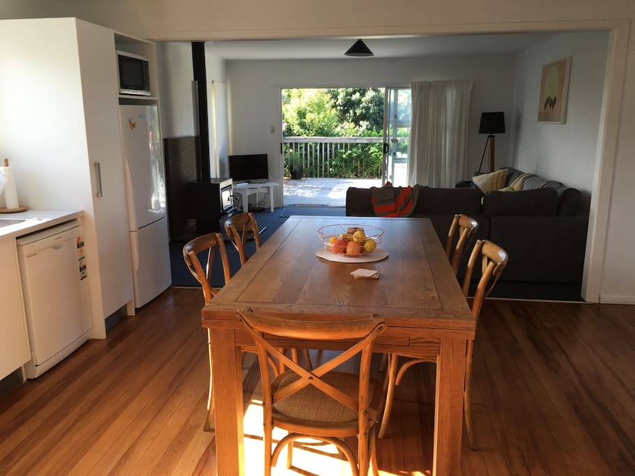 Sunny kitchen/dining with extendable table