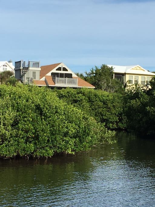 Back view of BHH from boat arrival dock and harbor