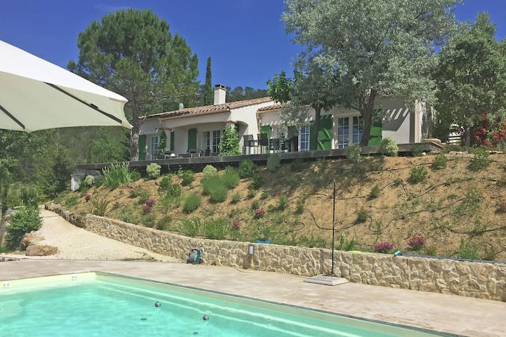 Villa with private swimming pool and view over historic village with abbey