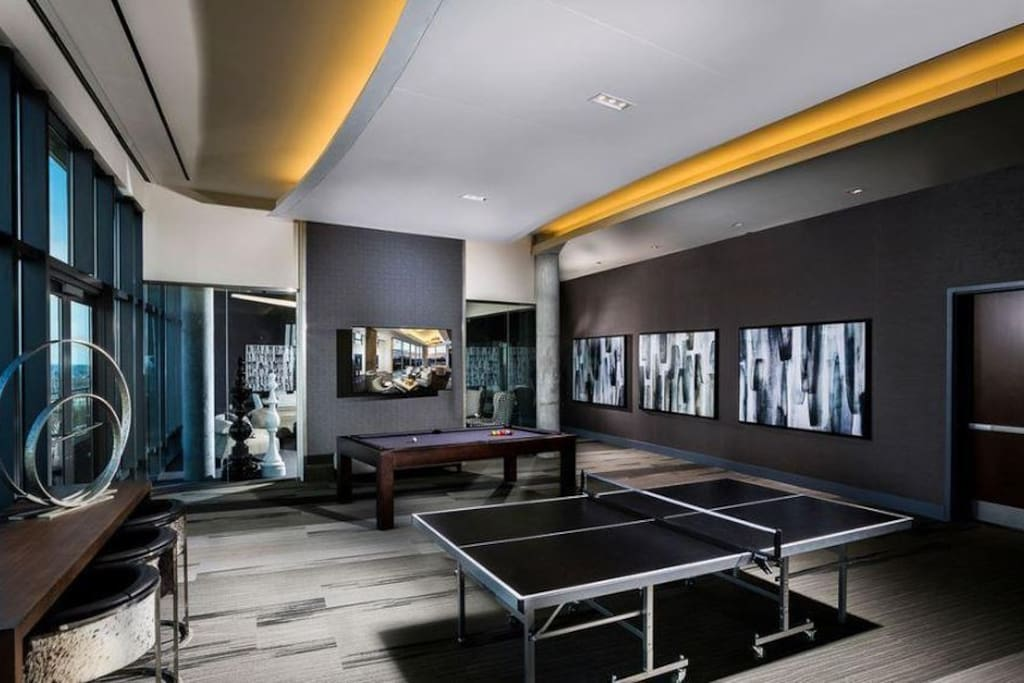 Community recreation room with billiards