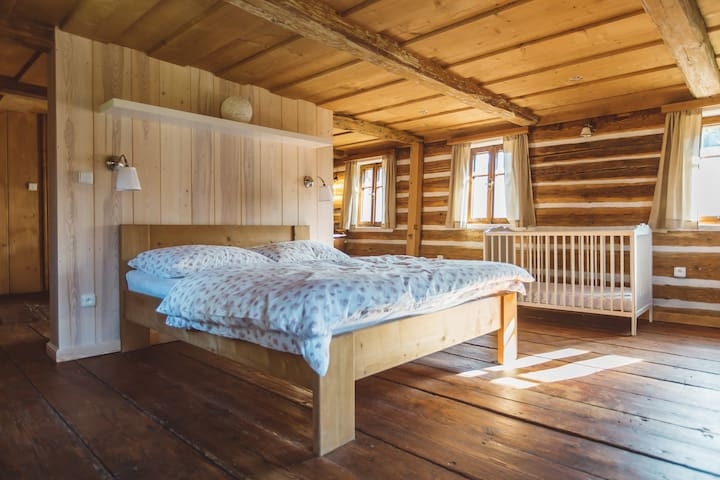 First bedroom on the second floor (up to 4 people & a baby)