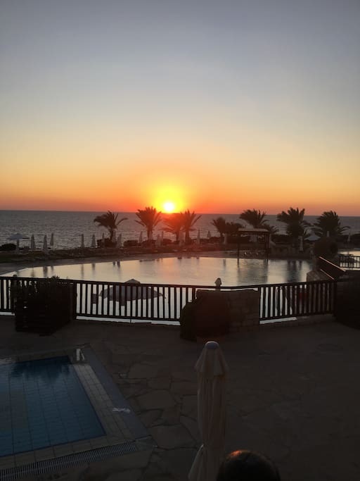 Sunset from Akteon hotel next to villa