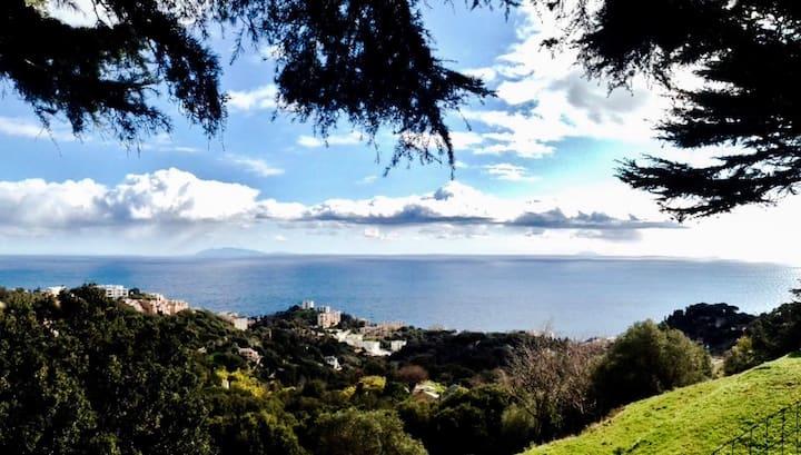 Hauteurs Bastia, maison+jardin VUE MER PANORAMIQUE