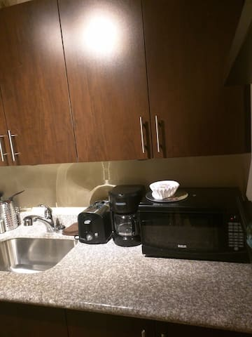 Complimentary coffee and toaster for your morning breakfast.