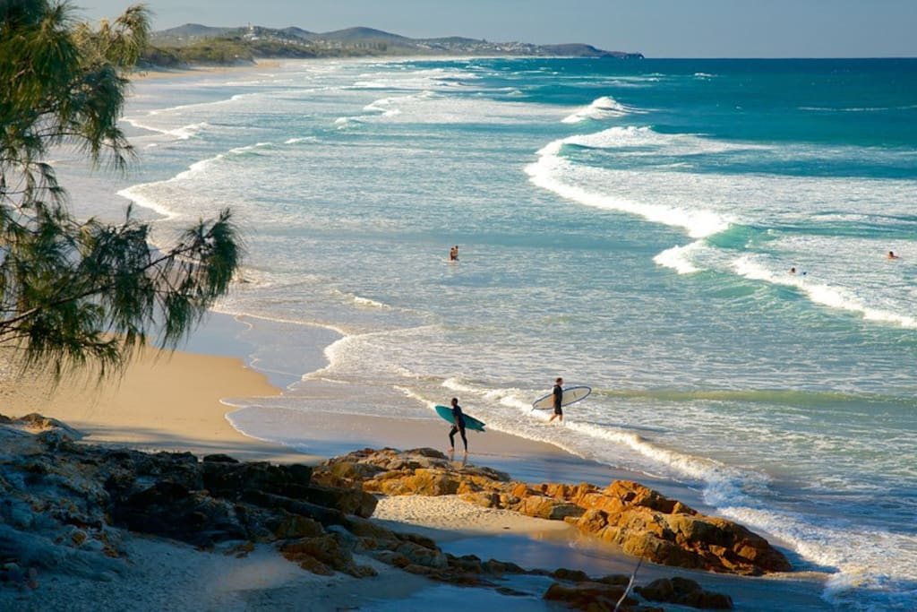Looking north up Coolum Beach from Point Arkwright. This beach is just 5 mins from home!