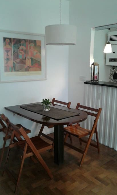 Comfortable dining table with 4 chairs.
