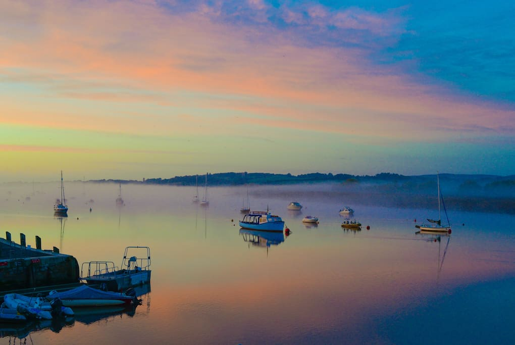 The view from Quayside over Topsham Quay to the Exe estuary, a wonderful vista that changes with the seasons and the states of the tide.