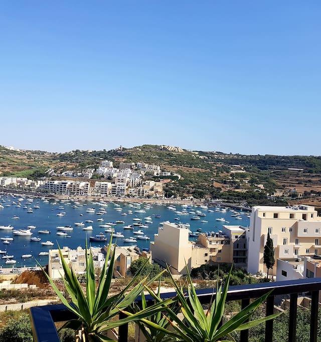 Main terrace overlooking bay