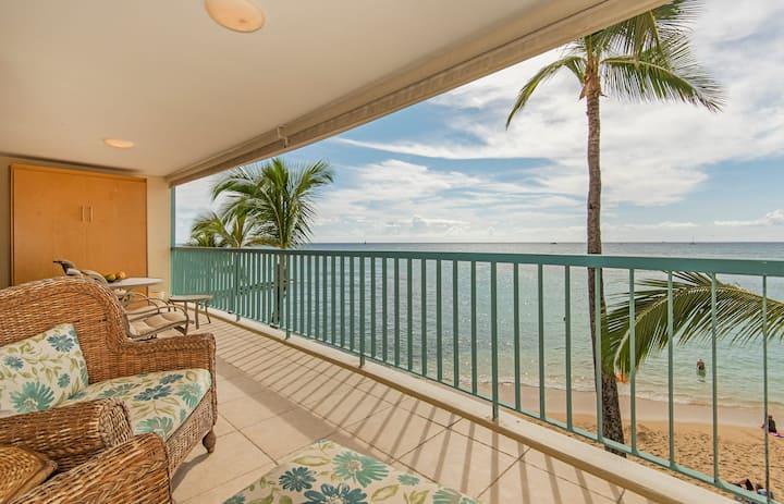 **Professionally Sanitized** Beachfront+Lanai+Beautiful Ocean Views+Parking! - San Souci Beachfront 1 BDR Overlooking Kaimana Beach 1A