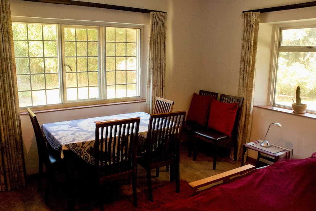 Our guest room includes a dining room table - handy for working, eating, or both!