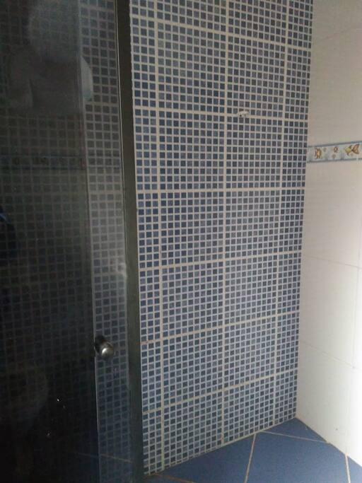 Banheiro com Box e chuveiro.