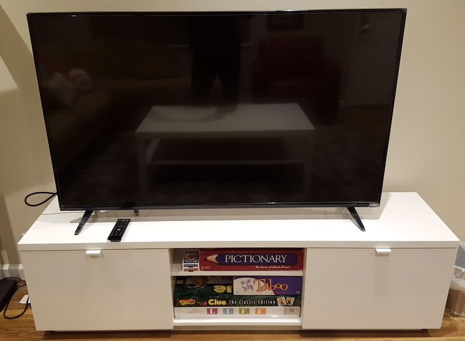 hdtv with netflix, iheartradio, and board games