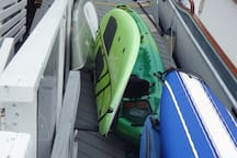 1 double Kayak and 2 single kayaks and 3 stand up paddle boards free for guest use. Total of 7 persons can be on the water at a time