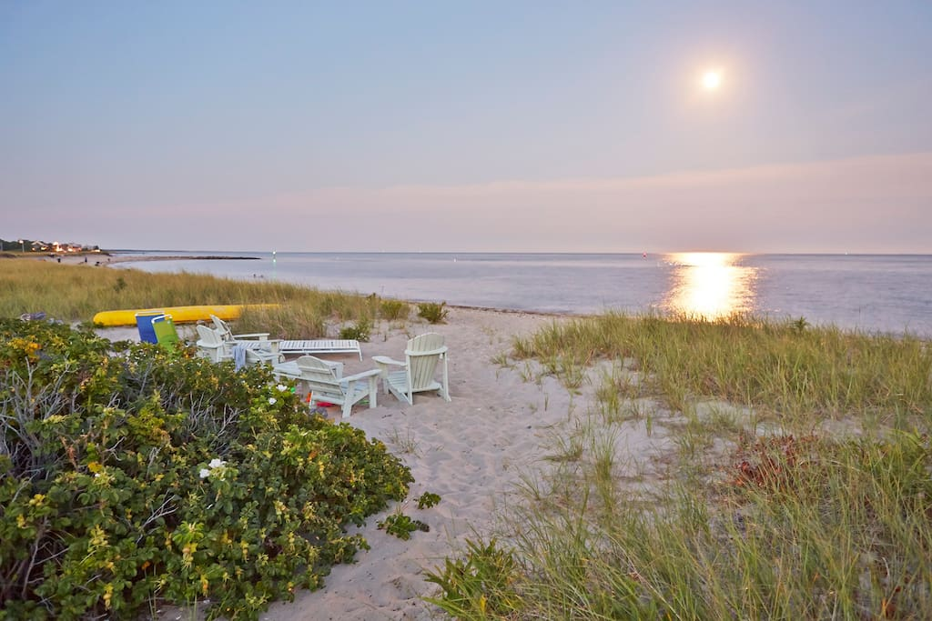 large private beach on vineyard sound