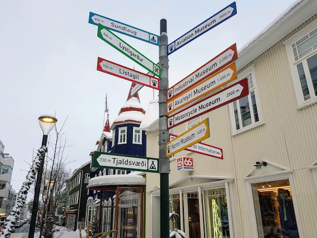 The guesthouse is located Down Town Akureyri! So charming in Winter time :)