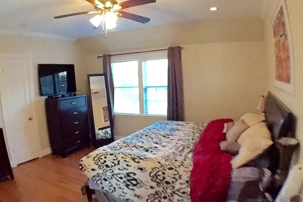 """Master bedroom upstairs with 42"""" LED TV, Apple TV and DVR"""