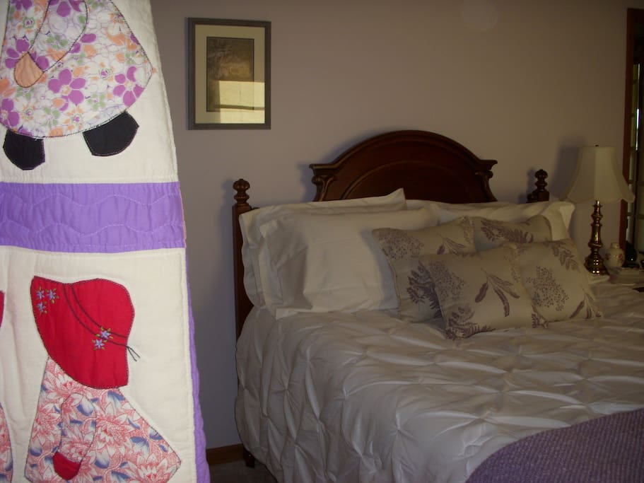 """Quilts are displayed throughout the B&B, including this """"Dutch Boy & Girl""""."""