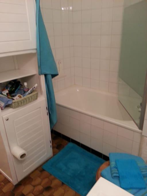 La salle de bain côté baignoire avec son pare douche vitré. Bonne baignade...