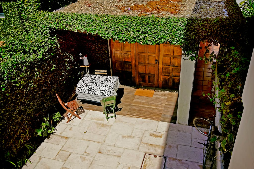 Downstairs outdoor area viewed from above