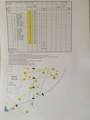 The Rechullin Golf Course Scorecard and Map