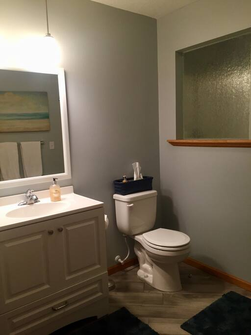 Private guest bathroom with extra towels, wash clothes, shampoo, condition, tooth paste, toilet paper, etc.