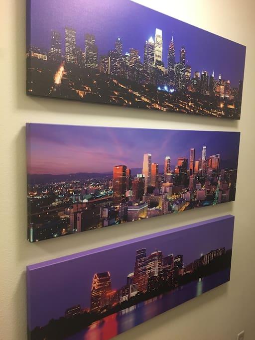 Skyline art - Philadelphia, Los Angeles, Austin
