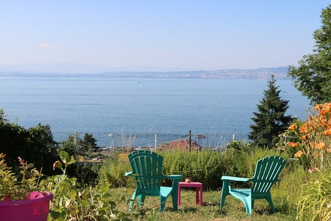 Равнище на градината и панорамен изглед към езерото