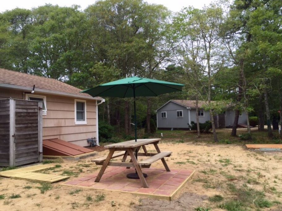 Large yard with nice balance of shade and sun, gas grill, brand new outdoor shower