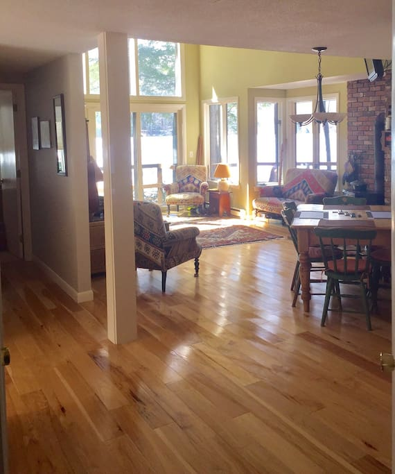 Family room as seen from kitchen area.  Hall to Master is to the left