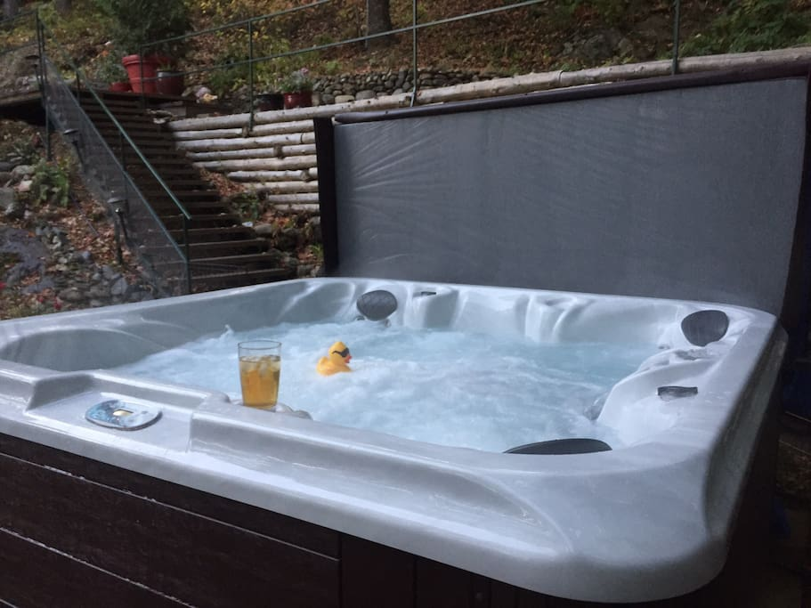 Our brand new 55 jet, 5 person hot tub.  Gazebo coming soon!