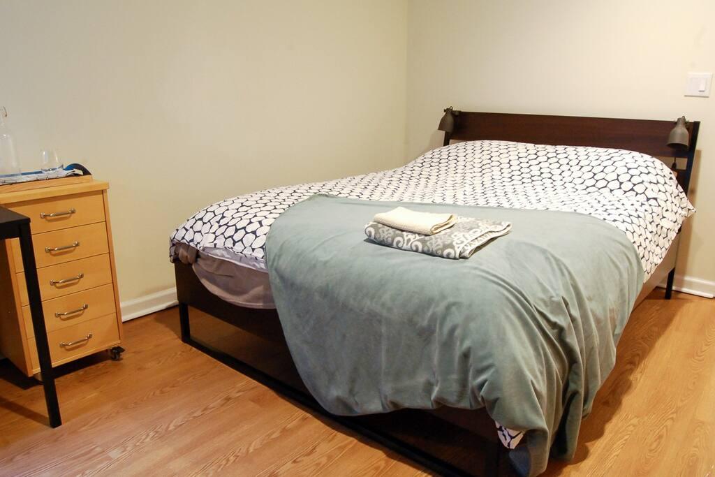 Queen Bed with super soft pillow top mattress