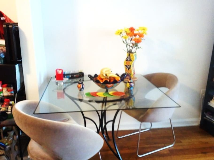 Dining table, which can be used for workspace also.