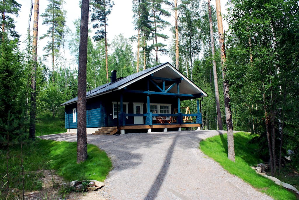 Hirvi cottage stands on the hill surrounded by tall pine trees.