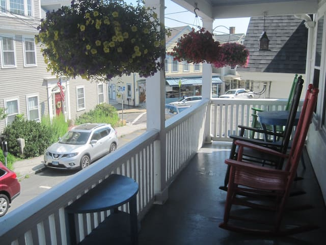 Relax in our porch rocking chairs.