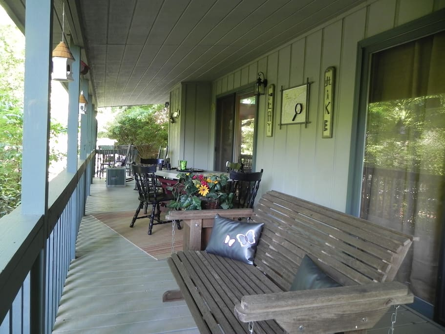 The rocking chair porch has lots of seating to enjoy the mountain air and scenery.