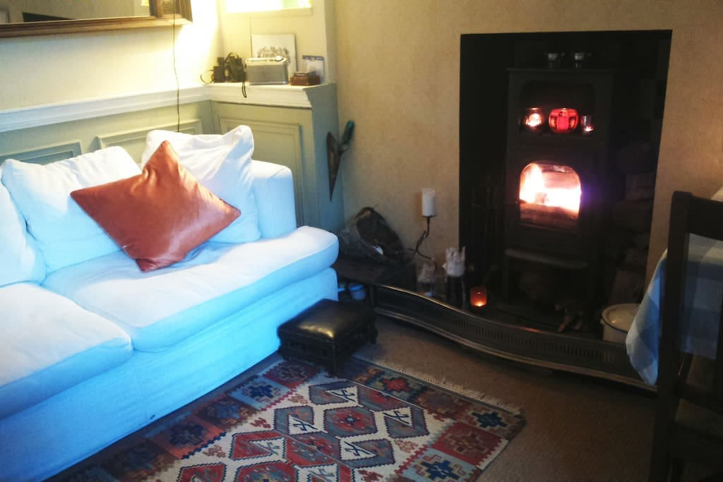 The house has two sitting rooms. You have access to this one with wood burner.