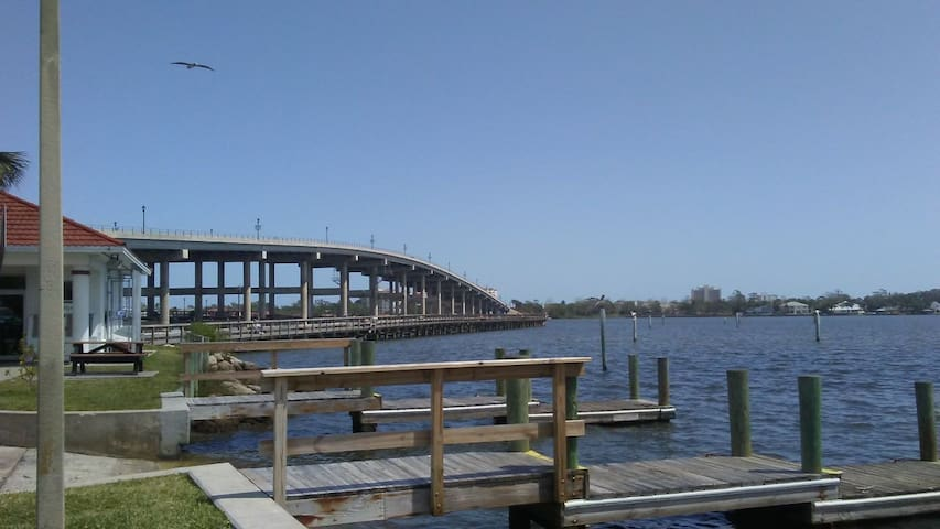 Just around the corner! Walk, jog or bike the Granada Bridge loop or fish off the pier below. We also have several gorgeous water front parks and boat launching ramps within walking distance.